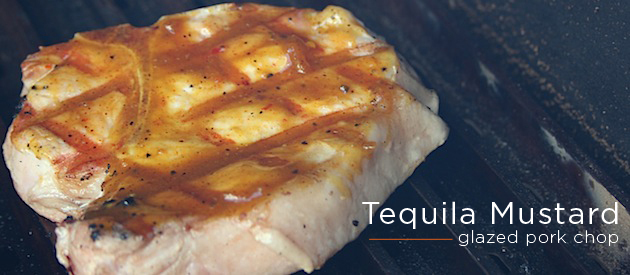 Tequila Mustard Glazed Pork Chops