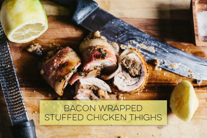 Bacon Wrapped Stuffed Chicken Thighs