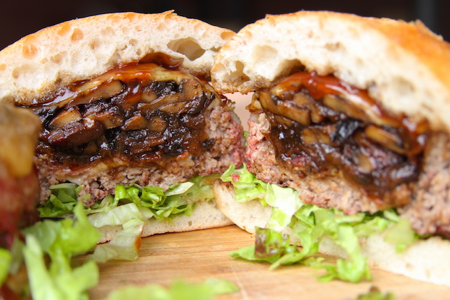 Beer Can Bacon Mushroom Swiss Burger Recipe