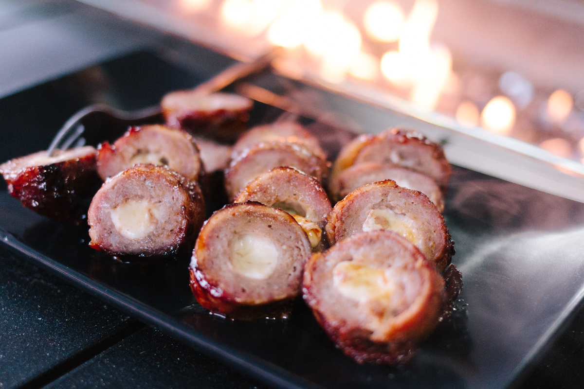 Cheese Stuffed Bacon Wrapped Hot Dogs