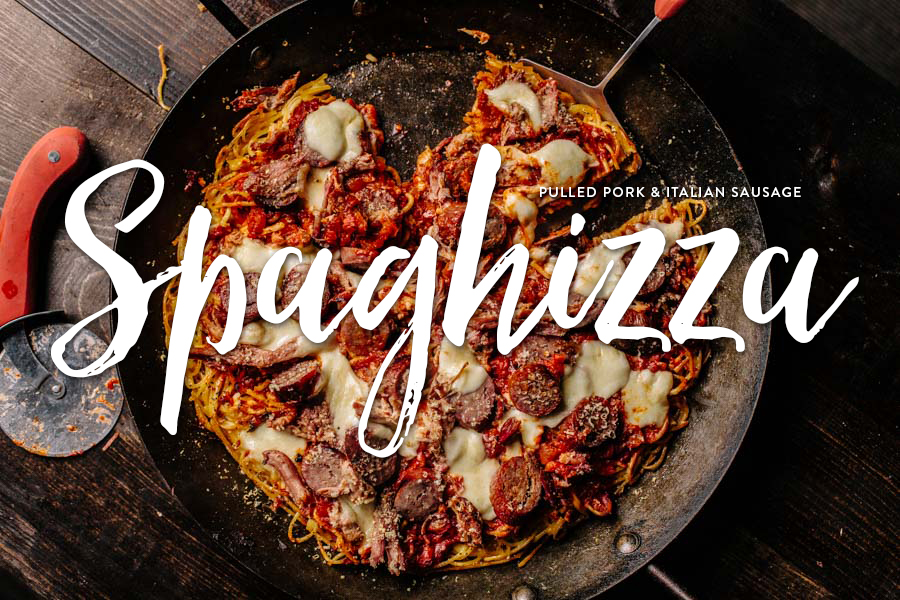 Spaghetti Pizza (spaghizza) with Pulled Pork and Italian Sausage Recipe