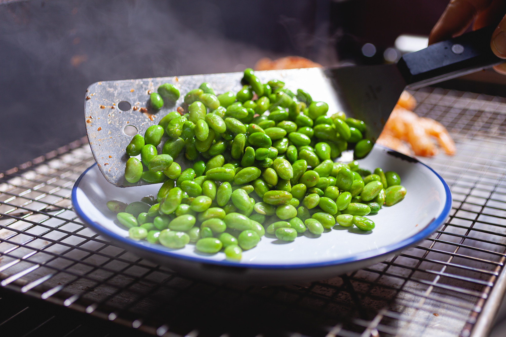 Edamame fresh off the grill.