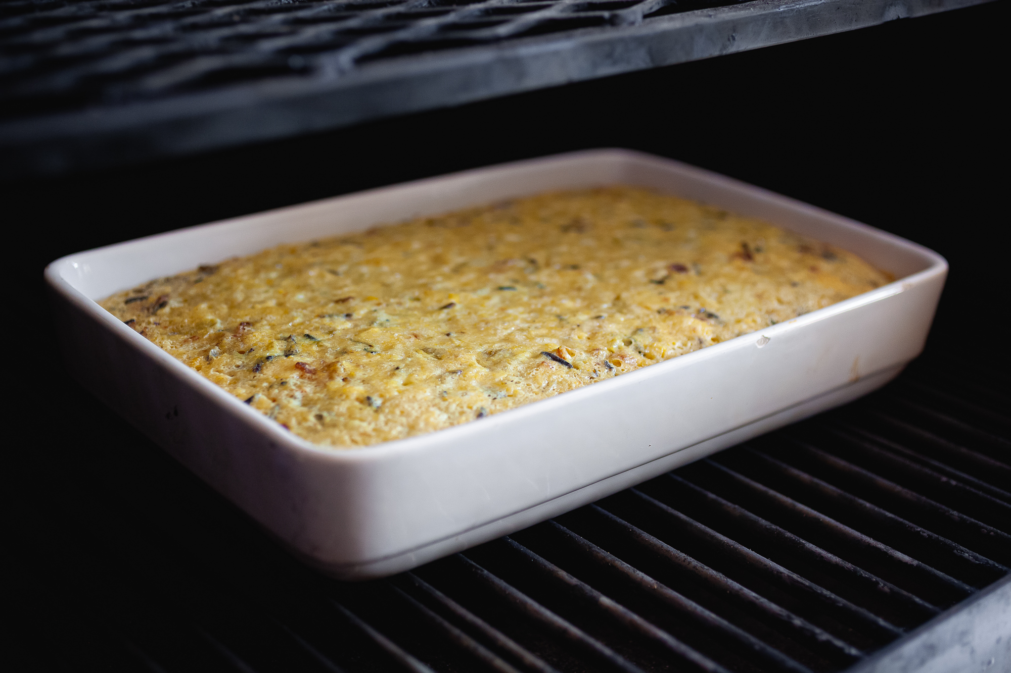 Wildrice, bacon, and green chiles ramp up this classic casserole dish!